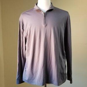 Perry Ellis Mens Long Sleeve Gray Polo Sz XL